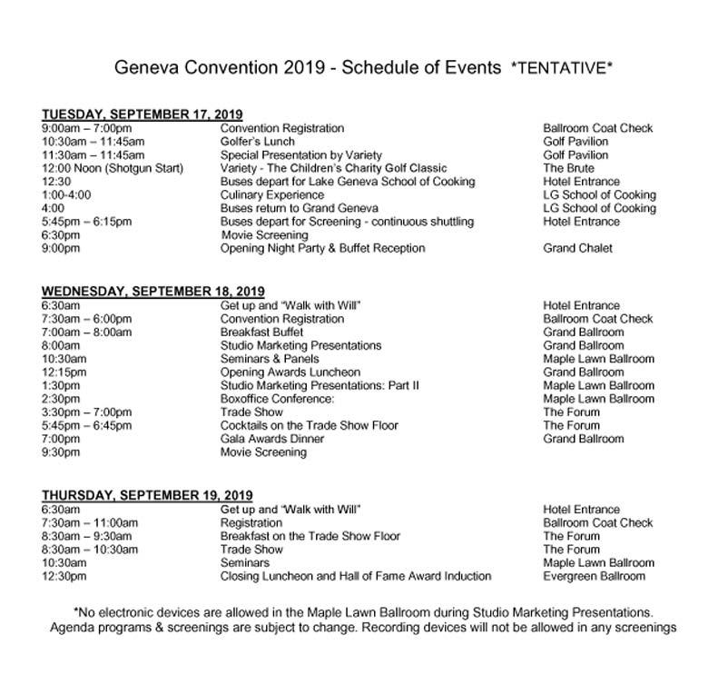 Schedule of Events | Geneva Convention